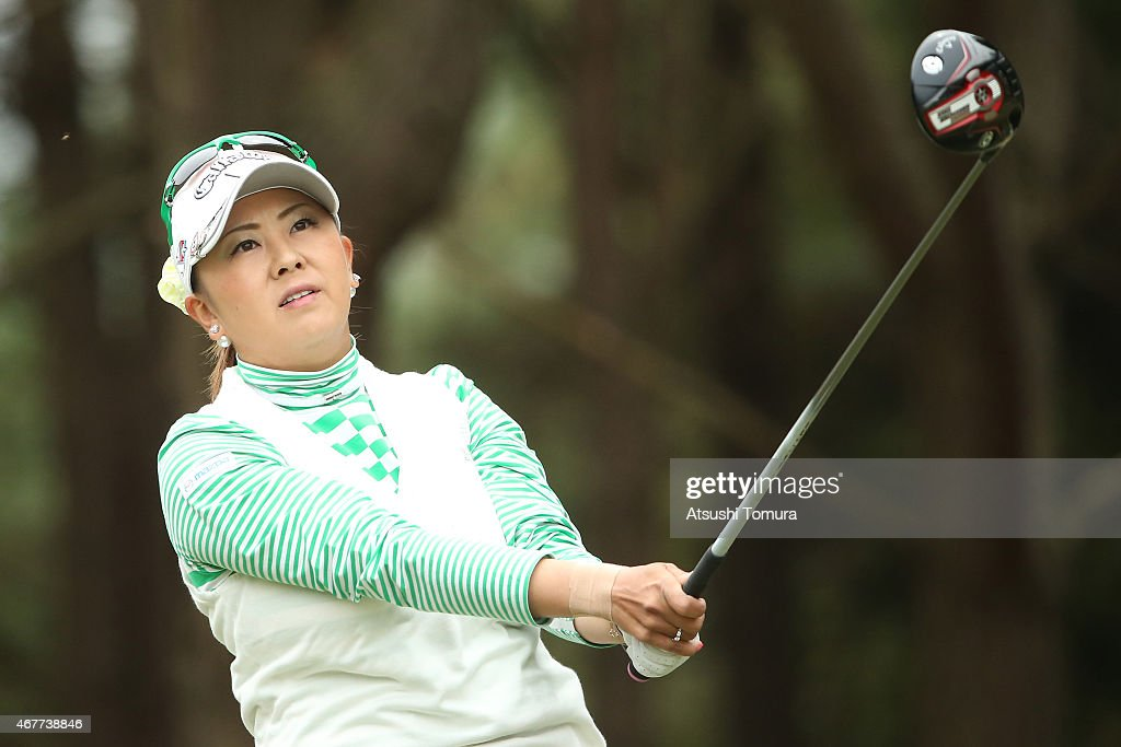 <a gi-track='captionPersonalityLinkClicked' href=/galleries/search?phrase=Miki+Saiki&family=editorial&specificpeople=4443719 ng-click='$event.stopPropagation()'>Miki Saiki</a> of Japan hits her tee shot on the 11th hole during the first round of the AXA Ladies Golf Tournament at the UMK Country Club on March 27, 2015 in Miyazaki, Japan.