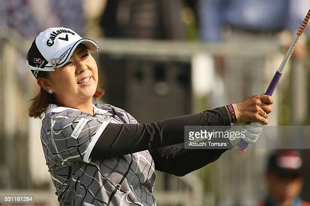 Miki Saiki of Japan hits her tee shot on the 1st hole during the first round of the HokennoMadoguchi Ladies at the Fukuoka Country Club Ishino Course...