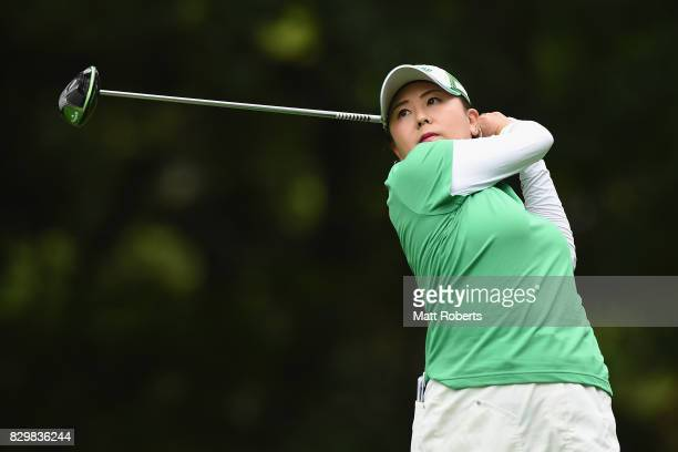 Miki Saiki of Japan hits her tee shot on the 2nd hole during the first round of the NEC Karuizawa 72 Golf Tournament 2017 at the Karuizawa 72 Golf...