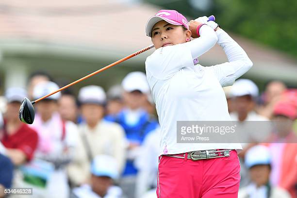 Miki Saiki of Japan hits her tee shot on the the 1st hole during the first round of the Resorttrust Ladies at the Grandee Naruto Golf Club XIV on May...