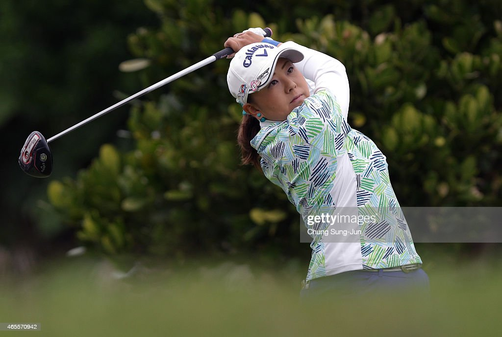 <a gi-track='captionPersonalityLinkClicked' href=/galleries/search?phrase=Miki+Saiki&family=editorial&specificpeople=4443719 ng-click='$event.stopPropagation()'>Miki Saiki</a> of Japan plays a tee shot during the final round of the Daikin Orchid Ladies Golf Tournament at the Ryukyu Golf Club on March 8, 2015 in Nanjo, Japan.