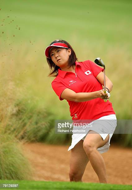 Miki Saiki of Japan plays from a greenside bunker on the 5th during the final round of the Women's World Cup of Golf at The Gary Player Country Club...