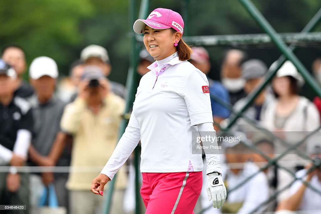 <a gi-track='captionPersonalityLinkClicked' href=/galleries/search?phrase=Miki+Saiki&family=editorial&specificpeople=4443719 ng-click='$event.stopPropagation()'>Miki Saiki</a> of Japan smails during the first round of the Resorttrust Ladies at the Grandee Naruto Golf Club XIV on May 27, 2016 in Naruto, Japan.