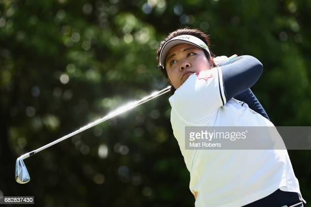 Miki Sakai of Japan hits her tee shot on the 16th hole during the final round of the HokennoMadoguchi Ladies at the Fukuoka Country Club Wajiro...