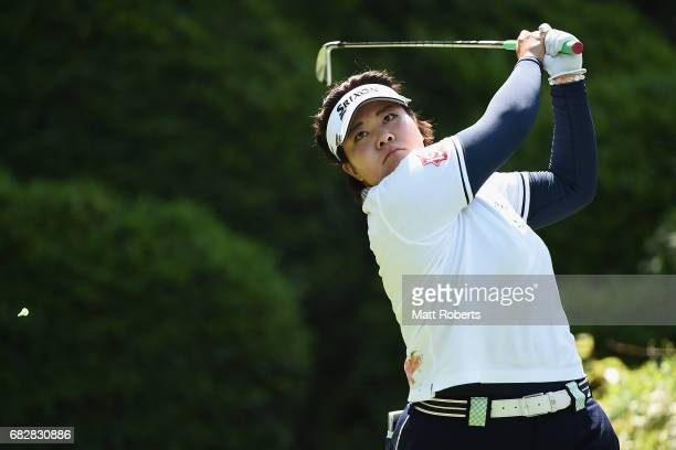 Miki Sakai of Japan hits her tee shot on the 7th hole during the final round of the HokennoMadoguchi Ladies at the Fukuoka Country Club Wajiro Course...
