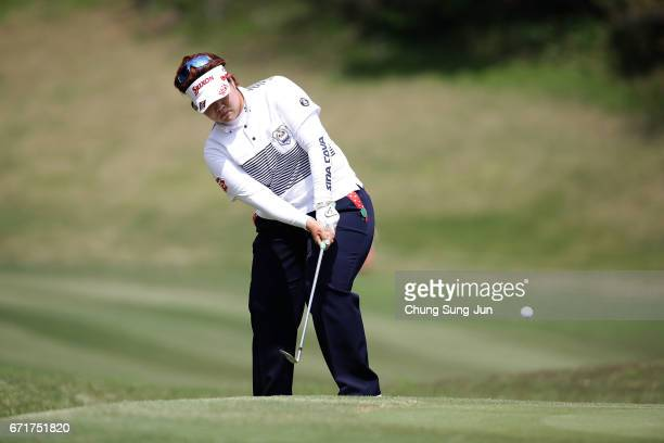 Miki Sakai of Japan plays a shot on the 2nd hole during the final round of Fujisankei Ladies Classic at the Kawana Hotel Golf Course Fuji Course on...
