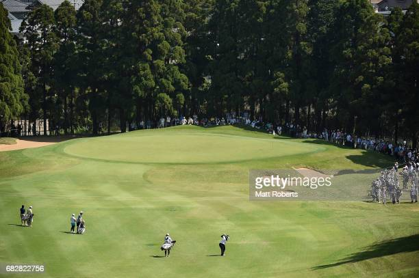 Miki Sakai of Japan plays her approach shot on the 3rd hole during the final round of the HokennoMadoguchi Ladies at the Fukuoka Country Club Wajiro...