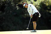 Miki Sakai of Japan putts on the 6th green during the final round of the Munsingwear Ladies Tokai Classic at the Shin Minami Aichi Country Club...