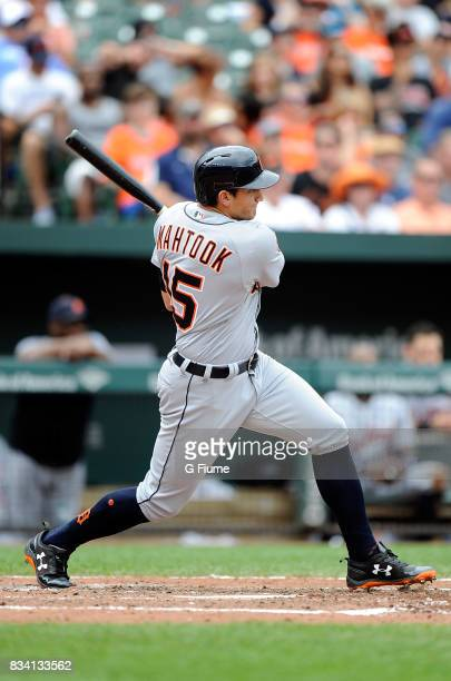 Mikie Mahtook of the Detroit Tigers bats against the Baltimore Orioles at Oriole Park at Camden Yards on August 6 2017 in Baltimore Maryland