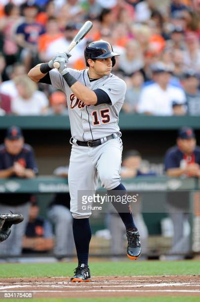 Mikie Mahtook of the Detroit Tigers bats against the Baltimore Orioles at Oriole Park at Camden Yards on August 5 2017 in Baltimore Maryland