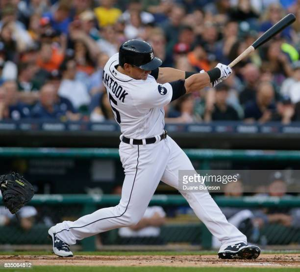 Mikie Mahtook of the Detroit Tigers bats against the Baltimore Orioles at Comerica Park on May 16 2017 in Detroit Michigan