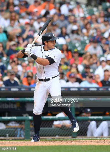 Mikie Mahtook of the Detroit Tigers bats during game one of a double header against the Cleveland Indians at Comerica Park on September 1 2017 in...