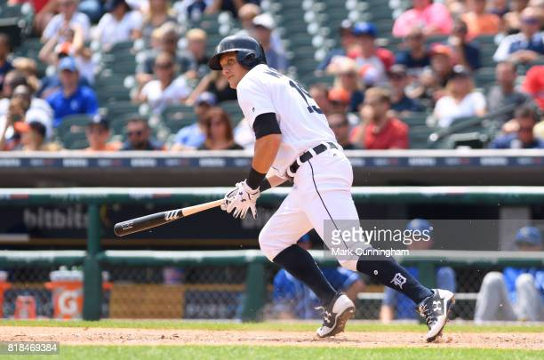 Mikie Mahtook of the Detroit Tigers bats during the game against the Kansas City Royals at Comerica Park on June 29 2017 in Detroit Michigan The...