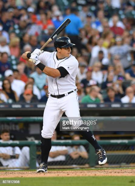 Mikie Mahtook of the Detroit Tigers bats during the game against the Kansas City Royals at Comerica Park on July 25 2017 in Detroit Michigan The...