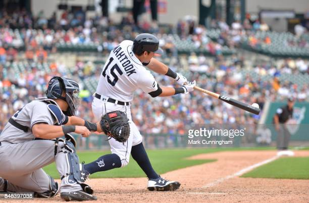 Mikie Mahtook of the Detroit Tigers bats during the game against the New York Yankees at Comerica Park on August 24 2017 in Detroit Michigan The...