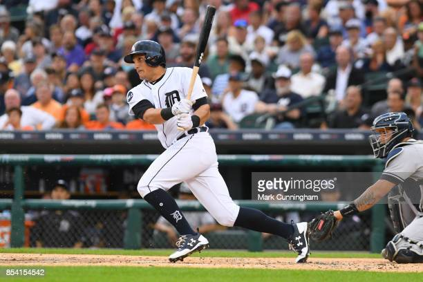 Mikie Mahtook of the Detroit Tigers bats during the game against the New York Yankees at Comerica Park on August 22 2017 in Detroit Michigan The...