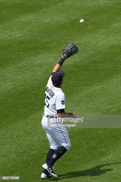 Mikie Mahtook of the Detroit Tigers catches a baseball during the game against the Minnesota Twins at Comerica Park on August 13 2017 in Detroit...