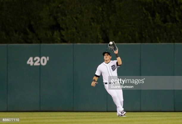 Mikie Mahtook of the Detroit Tigers catches a fly ball against the Baltimore Orioles at Comerica Park on May 16 2017 in Detroit Michigan
