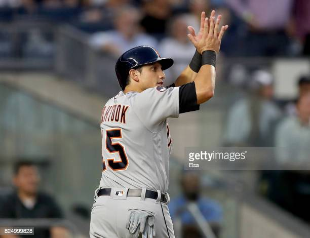 Mikie Mahtook of the Detroit Tigers celebrates after he scored in the fourth inning against the New York Yankees on July 31 2017 at Yankee Stadium in...