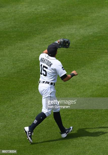 Mikie Mahtook of the Detroit Tigers fields during the game against the Minnesota Twins at Comerica Park on August 13 2017 in Detroit Michigan The...