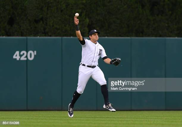 Mikie Mahtook of the Detroit Tigers fields during the game against the New York Yankees at Comerica Park on August 22 2017 in Detroit Michigan The...