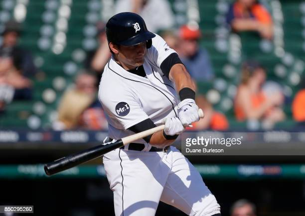 Mikie Mahtook of the Detroit Tigers hits a double against the Oakland Athletics during the ninth inning at Comerica Park on September 20 2017 in...