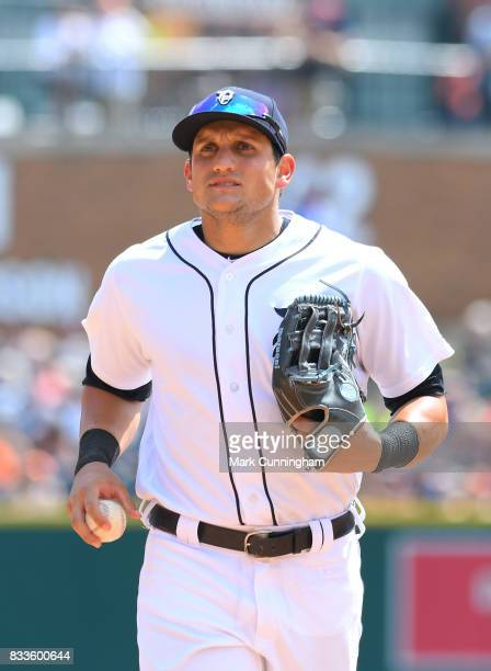 Mikie Mahtook of the Detroit Tigers looks on during the game against the Houston Astros at Comerica Park on July 30 2017 in Detroit Michigan The...