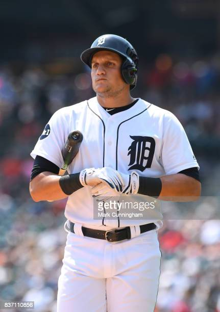 Mikie Mahtook of the Detroit Tigers looks on during the game against the Los Angeles Dodgers at Comerica Park on August 20 2017 in Detroit Michigan...