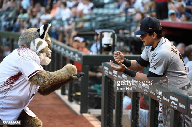 Mikie Mahtook of the Detroit Tigers plays rock paper and scissors with Baxter the Arizona Diamondbacks mascot prior to a game at Chase Field on May...