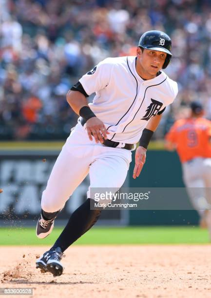 Mikie Mahtook of the Detroit Tigers runs the bases during the game against the Houston Astros at Comerica Park on July 30 2017 in Detroit Michigan...