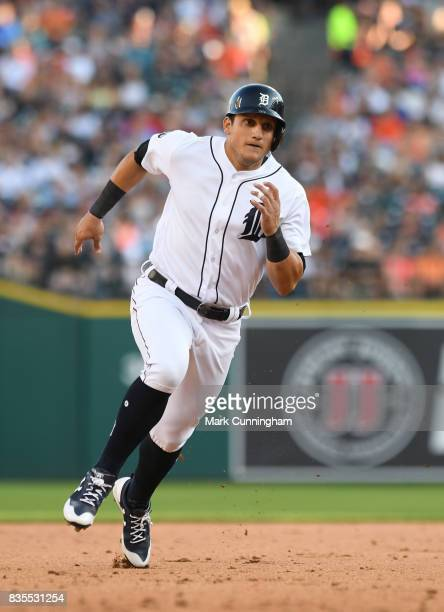 Mikie Mahtook of the Detroit Tigers runs the bases during the game against the Houston Astros at Comerica Park on July 29 2017 in Detroit Michigan...