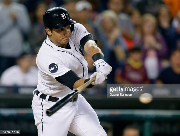 Mikie Mahtook of the Detroit Tigers singles to drive in Jeimer Candelario of the Detroit Tigers from third base to beat the Chicago White Sox 32 in...