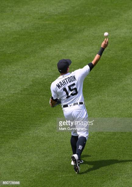 Mikie Mahtook of the Detroit Tigers throws a baseball during the game against the Minnesota Twins at Comerica Park on August 13 2017 in Detroit...