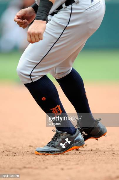 Mikie Mahtook of the Detroit Tigers wears Under Armour shoes during the game against the Baltimore Orioles at Oriole Park at Camden Yards on August 6...