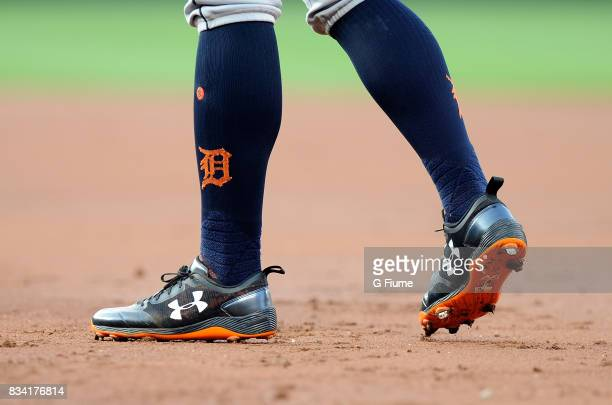 Mikie Mahtook of the Detroit Tigers wears Under Armour shoes during the game against the Baltimore Orioles at Oriole Park at Camden Yards on August 5...