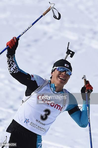 Mikito Tachizaki of Japan celebrates winning the men's biathlon 125 km pursuit on day seven of the 2017 Sapporo Asian Winter Games at Nishioka...