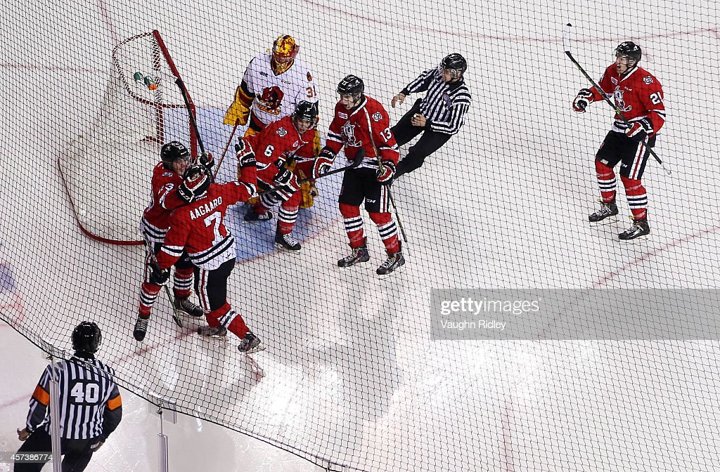 Mikkel Aagaard of the Niagara Ice Dogs celebrates the first goal in the new arena during the OHL game between the Belleville Bulls and the Niagara...