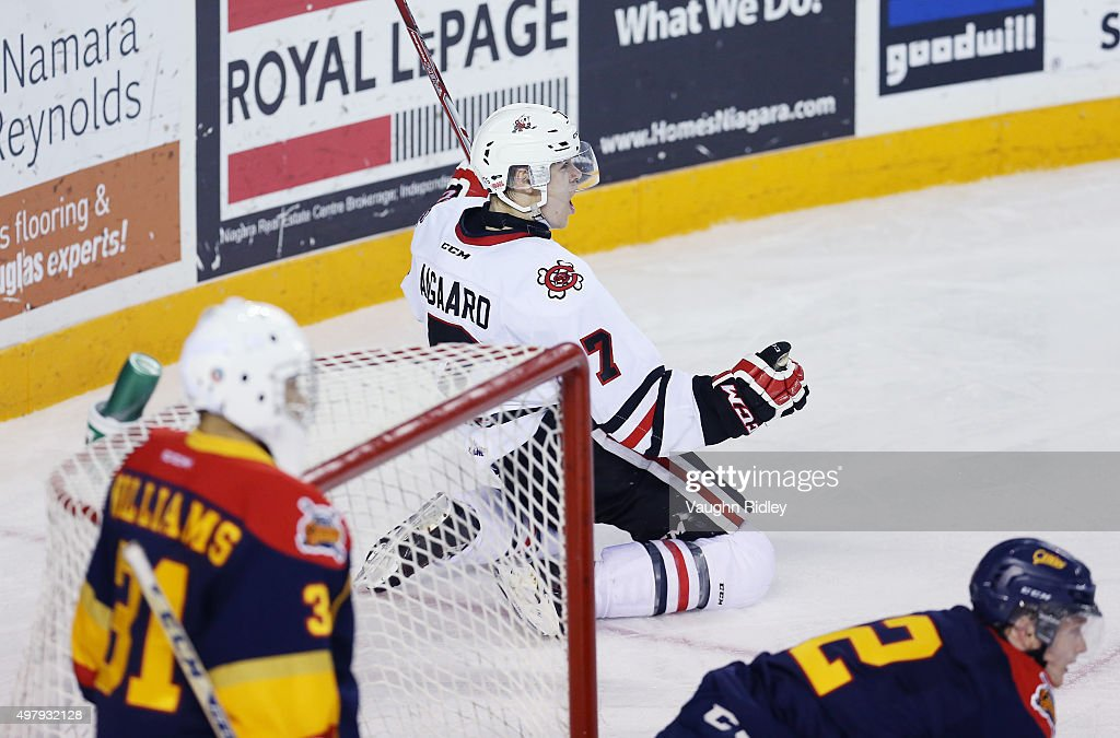 Mikkel Aagaard #7 of the Niagara IceDogs celebrates a goal during an OHL game against the Erie Otters at the Meridian Centre on November 19, 2015 in St Catharines, Ontario, Canada.