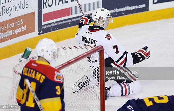 Mikkel Aagaard of the Niagara IceDogs celebrates a goal during an OHL game against the Erie Otters at the Meridian Centre on November 19 2015 in St...