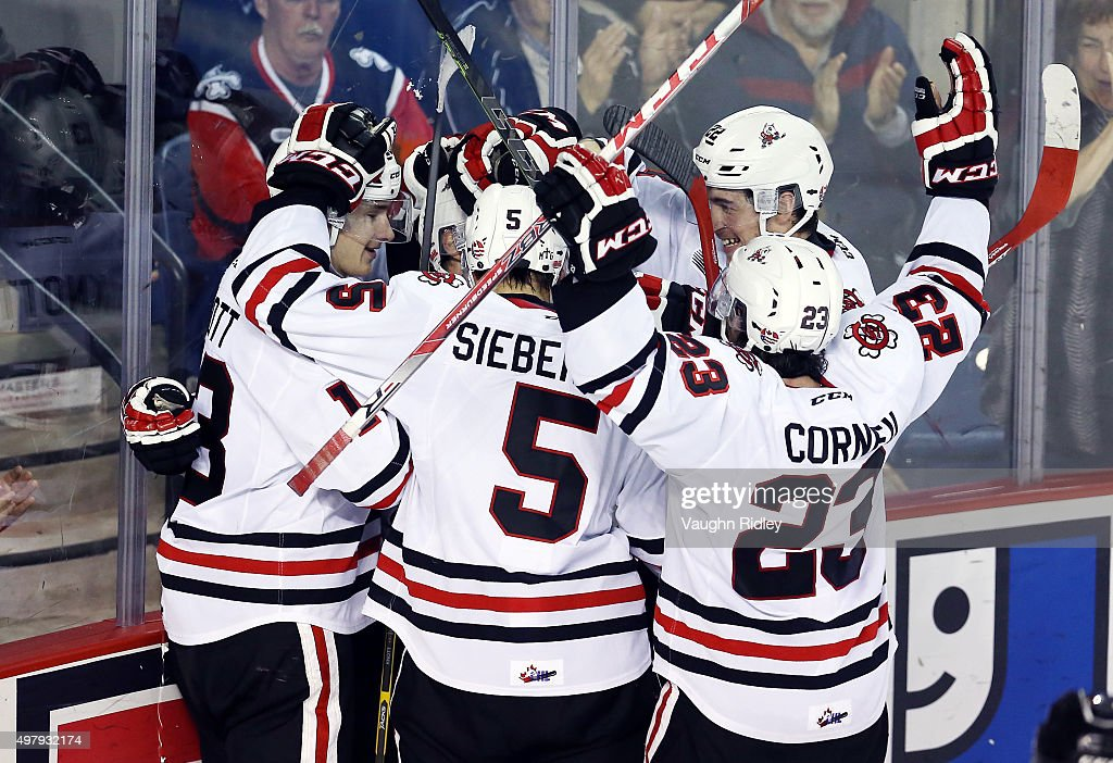 Mikkel Aagaard #7 (hidden) of the Niagara IceDogs celebrates a goal with teammates during an OHL game against the Erie Otters at the Meridian Centre on November 19, 2015 in St Catharines, Ontario, Canada.