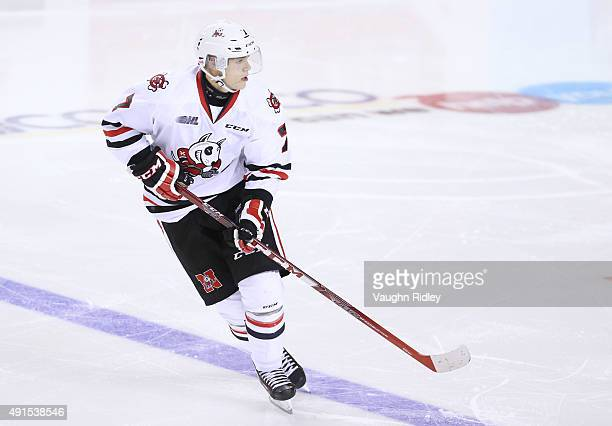 Mikkel Aagaard of the Niagara IceDogs skates during an OHL game against the Barrie Colts at the Meridian Centre on October 2 2015 in St Catharines...