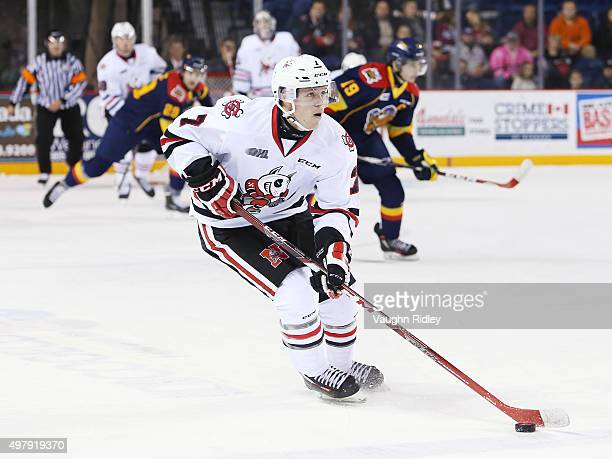 Mikkel Aagaard of the Niagara IceDogs skates with the puck during an OHL game against the Erie Otters at the Meridian Centre on November 19 2015 in...