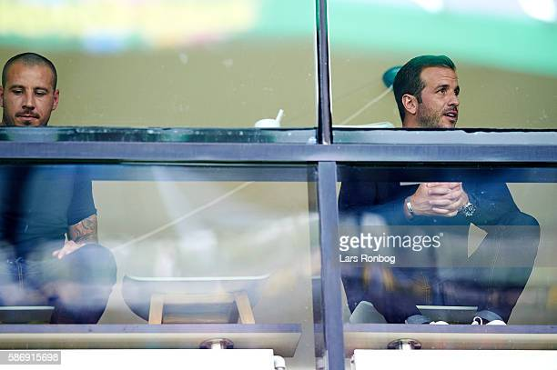 Mikkel Beckmann and Rafael van der Vaart looks on from the VIP Skybox prior to the Danish Alka Superliga match between FC Midtjylland and Brondby IF...