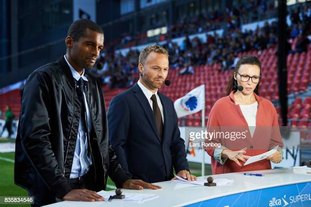 Mikkel Bischoff Lars Jacobsen and Mette Cornelius journalist of Discovery Networks during a Eurosport live set up at pitch side prior to the Danish...