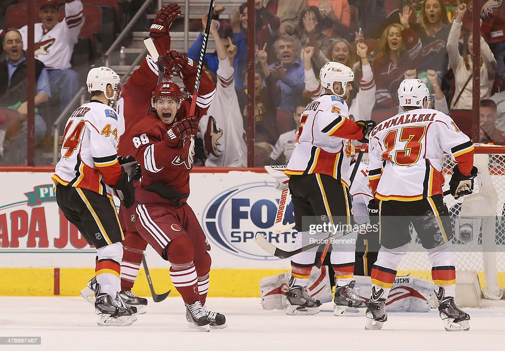 Mikkel Boedker of the Phoenix Coyotes celebrates the game winning powerplay goal by Shane Doan against the Calgary Flames at 849 of the third period...