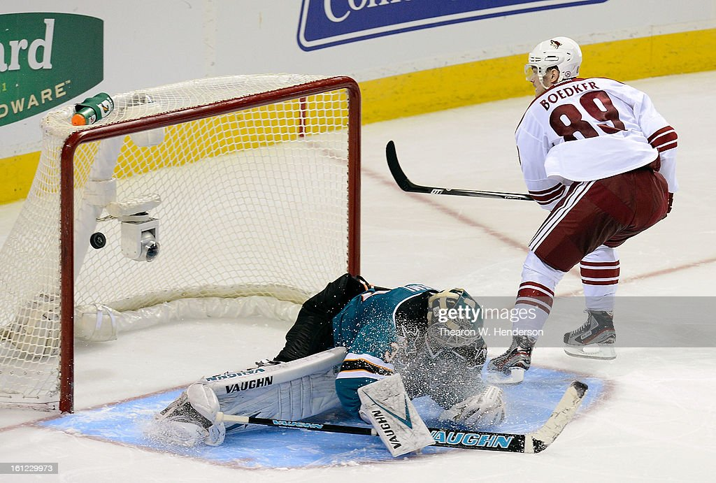 Mikkel Boedker #89 of the Phoenix Coyotes scores getting his shot past goalkeeper Antti Niemi #31 of the San Jose Sharks during an overtime shoot-out at HP Pavilion on February 9, 2013 in San Jose, California. The Coyotes won the game in the overtime shoot-out 1-0.