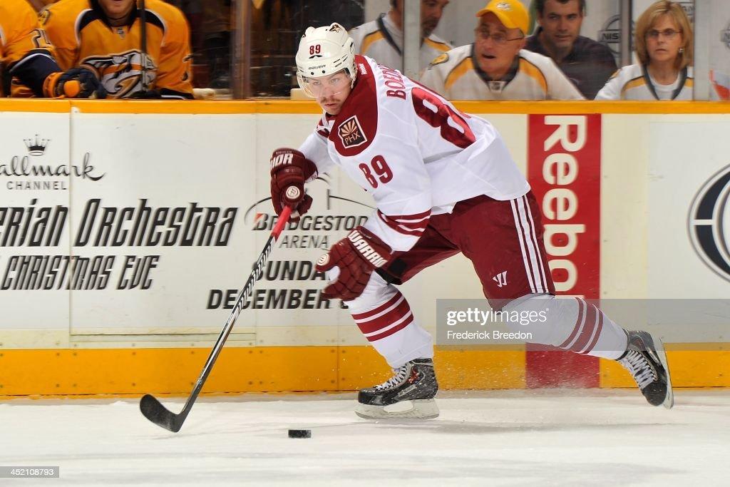 Mikkel Boedker #89 of the Phoenix Coyotes skates against the Nashville Predators at Bridgestone Arena on November 25, 2013 in Nashville, Tennessee.