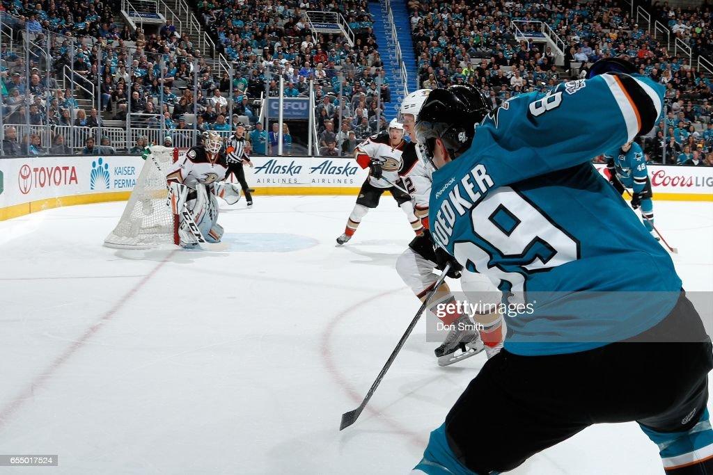 Mikkel Boedker #89 of the San Jose Sharks fires the puck towards Jonathan Bernier #1 of the Anaheim Ducks at SAP Center at San Jose on March 18, 2017 in San Jose, California.