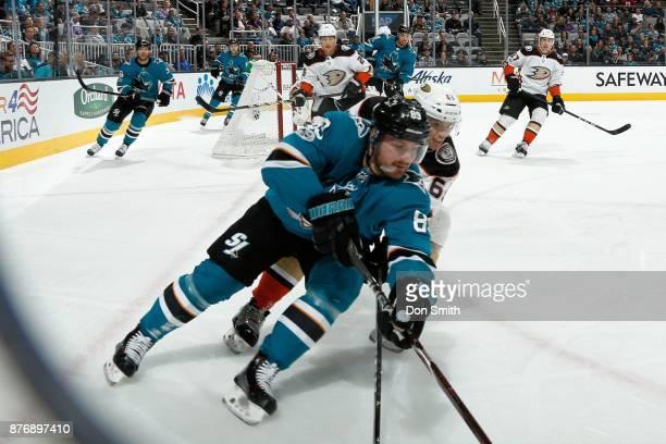 Mikkel Boedker of the San Jose Sharks skates against Kevin Roy of the Anaheim Ducks at SAP Center on November 20 2017 in San Jose California