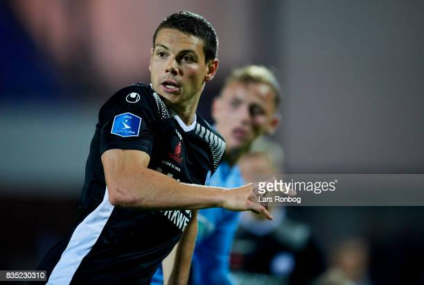 Mikkel Cramer of Silkeborg IF in action during the Danish Alka Superliga match between Randers FC and Silkeborg IF at BioNutria Park on August 18...